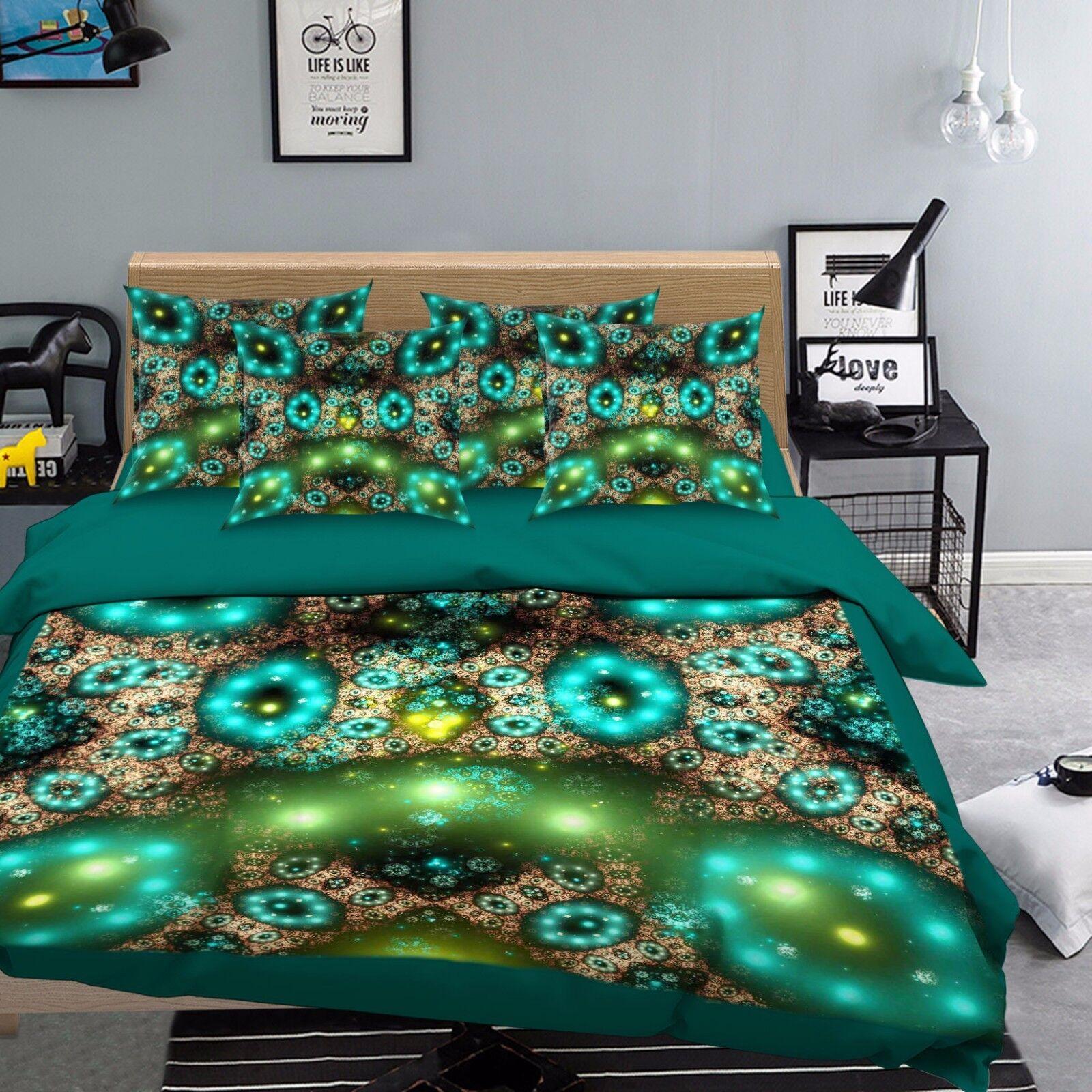 3D Grünes Licht 569 Bett Kissenbezüge steppen Duvet Decken Set Single DE Sunmmer