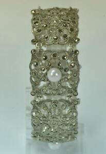 Armband-mit-Perlen-Markasiten-925-Silber-Meisterpunze-Art-Deco-antik-bracelet