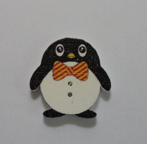 Tk1-5 madera botones decoración pingüino, coser bricolaje scrapbooking nuevo!