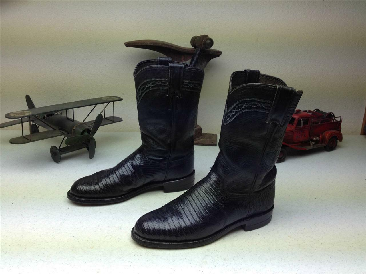 JUSTIN STYLE 3733 BLACK LIZARD LEATHER WESTERN COWBOY ROPER BOOTS SIZE 6 C