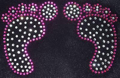 BABY FEET PINK iron-on RHINESTONE diamante bead TSHIRT transfer applique patch