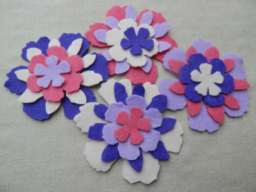 FELT x16 die cut FLOWERS Layering Appliqué Craft DIY brooches Christmas VARIOUS
