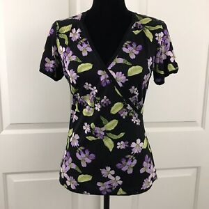 Tommy-Bahama-Womens-Size-Small-Floral-Silk-Blend-Faux-Wrap-Top