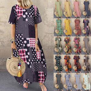 ZANZEA-Women-Short-Sleeve-Cotton-Long-Maxi-Dress-Geometric-Holiday-Sundress-Plus