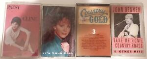 Lot of 4 Country Cassette Tapes Patsy Cline,Reba McEntire,John Denver, & various