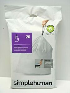 8 gal Simplehuman Custom Fit Liners G Trash Bags Drawstring 20 pk 30L