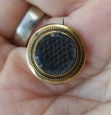 14K ANTIQUE MOURNING PIN Woven Hair Beveled Glass 2.4gs 1840s-1890s