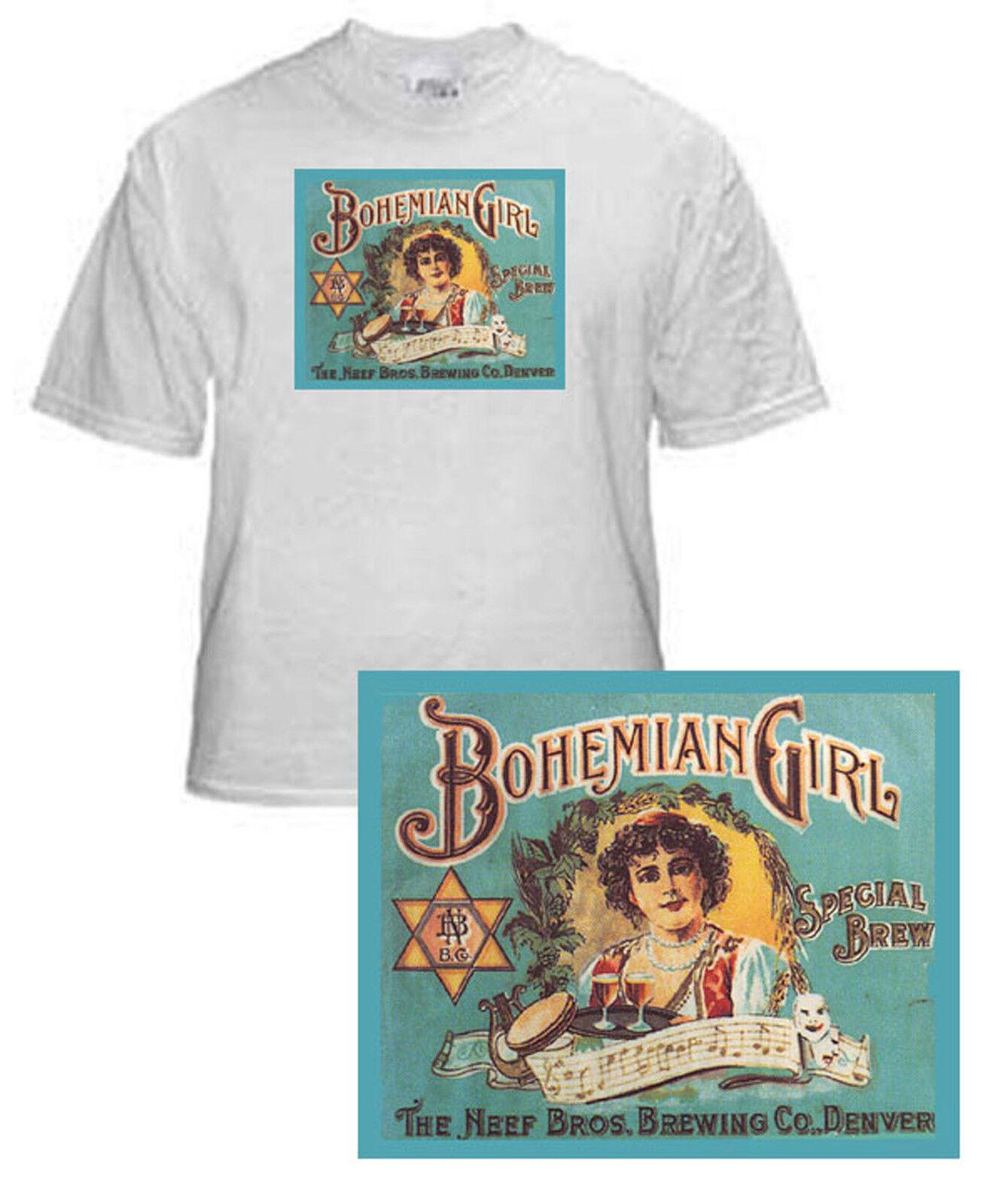 NEEF BROS BREWING BOHEMIAN GIRL BEER LABEL T SHIRT DENVER CO SMALL-XXXLARGE