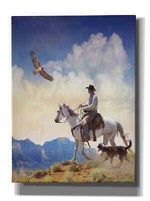 Giclee Canvas Wall Art Epic Graffiti /'Cowboy with Dog and Hawk/' by Chris Vest