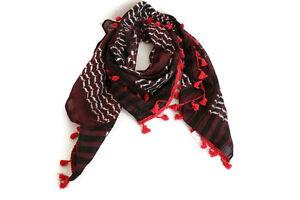 HIRBAWI-Echarpe-Shemagh-Rouge-Noir-Blanc-keffieh-47-034-x47-034-Original-Neuf