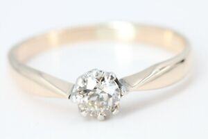 0,35 ct. Diamant Ring Gold 585 antik Gelbgold 14 K Größe 57 Solitär Diamant Ring