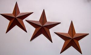 Set-of-3-Rust-Brown-Black-BARN-STARS-8-034-WALL-DECOR-PRIMITIVE-COUNTRY-americana