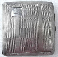 Silver cigarette case Vintage 1930s Hallmarked Birmingham TOGHILL initials LN