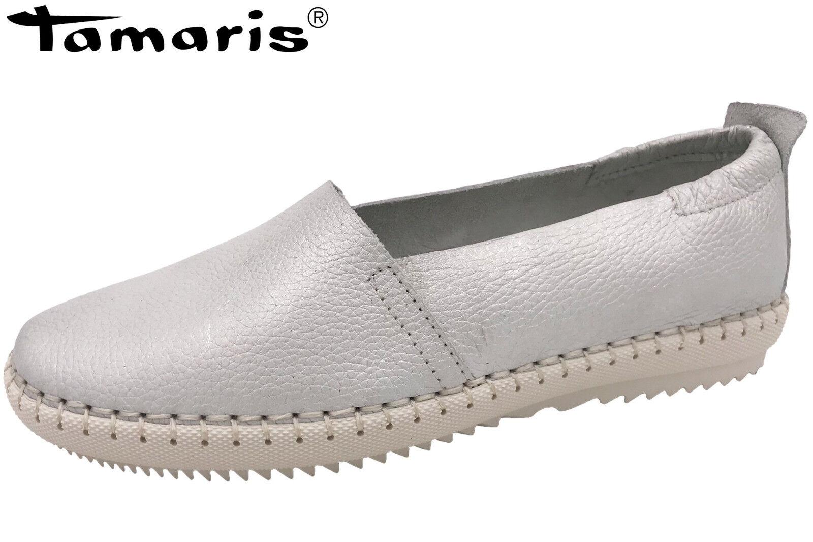 Tamaris Damen Slipper OffWEISS Metallic Leder Sommer Schuhe 1-1-24630-30-017 NEU