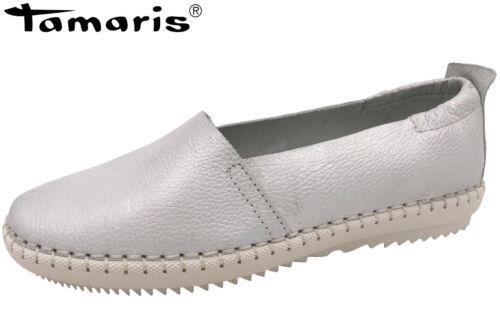 Tamaris Damen Slipper Offwhite Metallic Leder Sommer Schuhe 1-1-24630-30-017 NEU