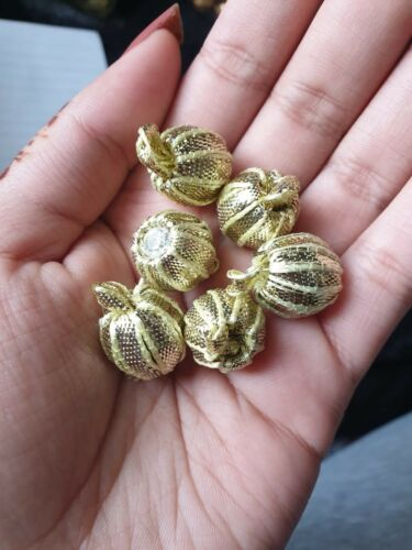 Ball pom pom dull gold 10 x Stunning Bullion Round Metallic ribbon Buttons