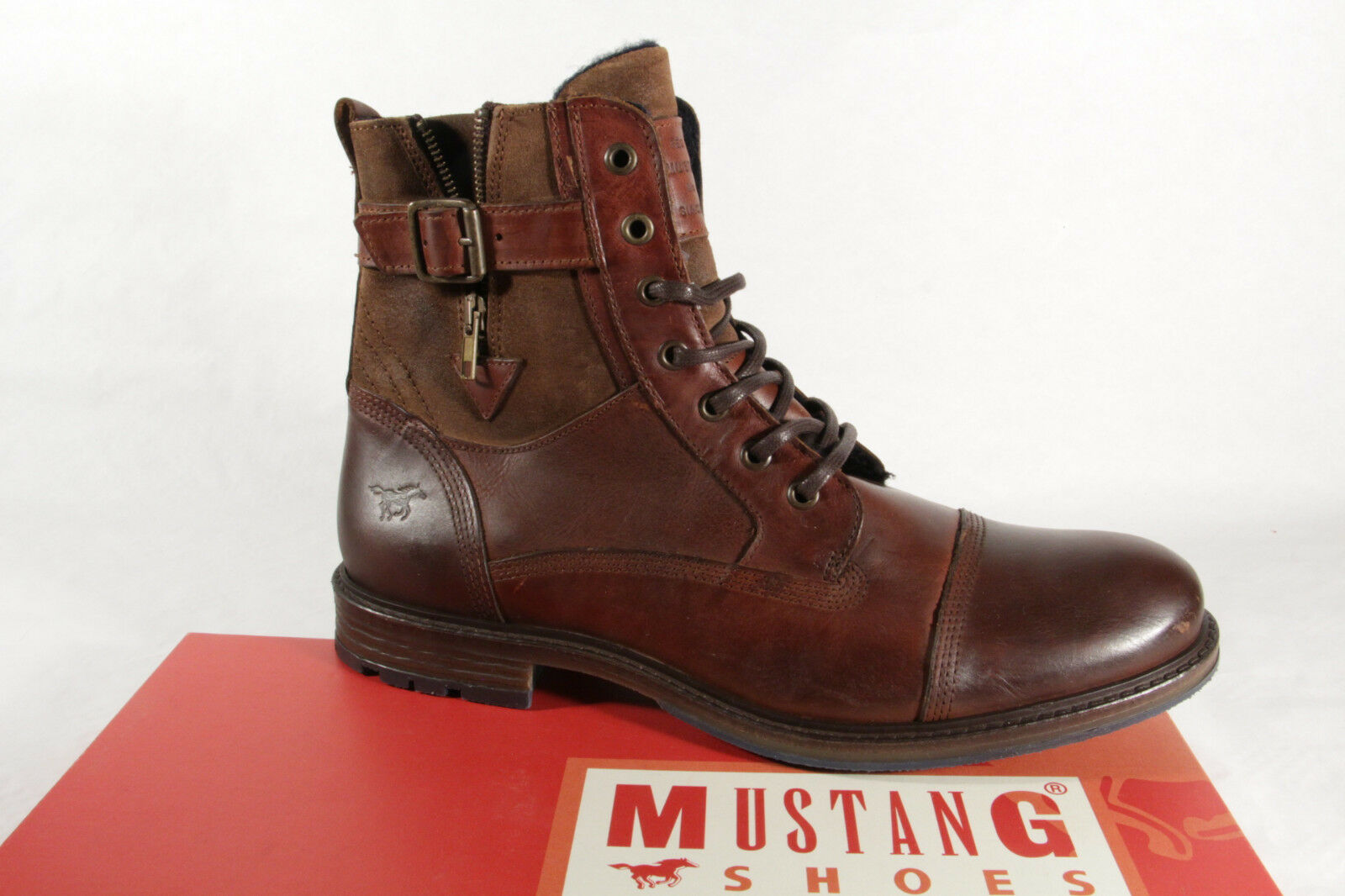 Mustang 4890 Men's Boots Ankle Boots Real Leather Brown New