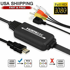 Detectorcatty 5ft HDMI Male to RCA Audio and Video AV Cable Adapter for PS3 PS4 to Wii Male Conversor Cable Adapter