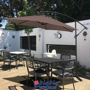 10Ft-Outdoor-Patio-Cantilever-Umbrella-Offset-Cranking-and-Tilt-Cross-Base-Brown