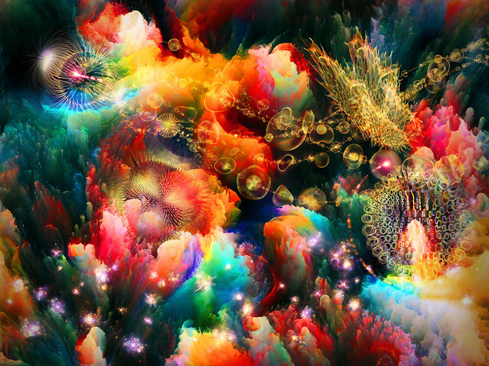 Fototapete Fraktal Unter Wasser Abstrakt - Kleistertapete oder Selbstklebende