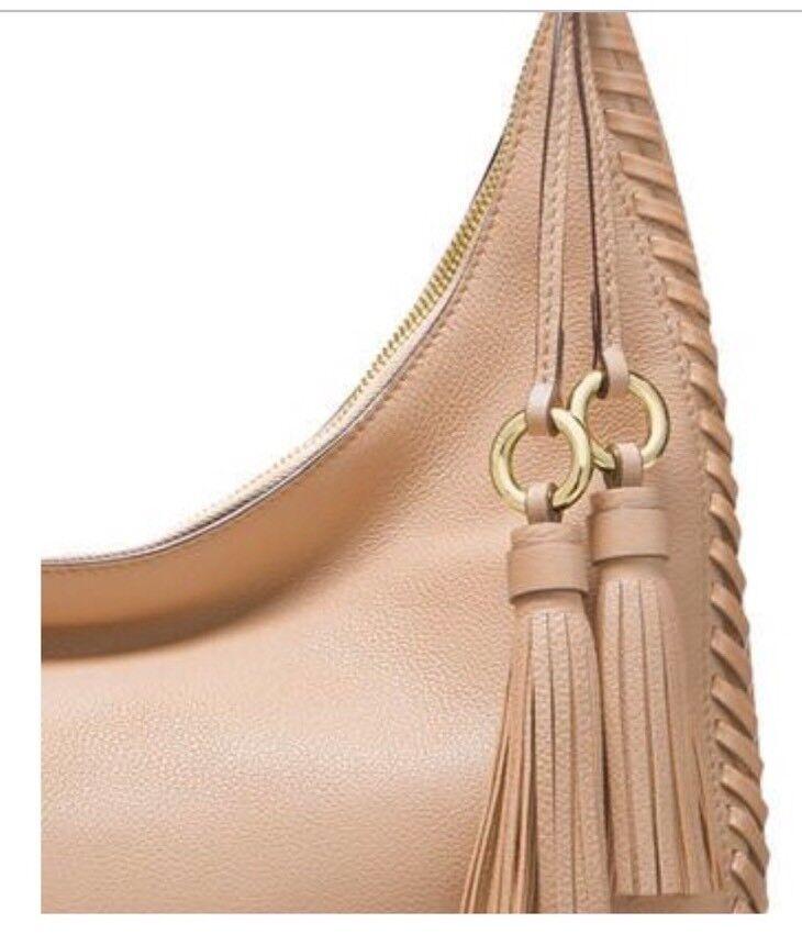 e0aa9d34eff2 Michael Kors Lauryn Large MK Signature Tassel Shoulder Bag Natural ...