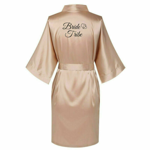 Champagne Personalized Satin Wedding Bride Kimono Robe Bridesmaid Mother Gown