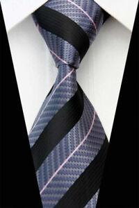 Tie-Necktie-Black-Gray-Pink-Stripe-Classic-100-Silk-Jacquard-Mens-Ties-Neckties