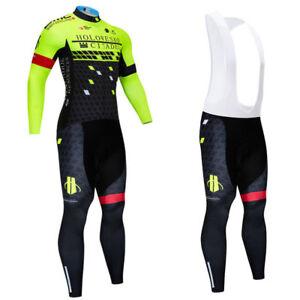 Long Sleeve Mens Road Bike Cycling Jersey Pants Kit Sports Wear Tight Set 9D Pad