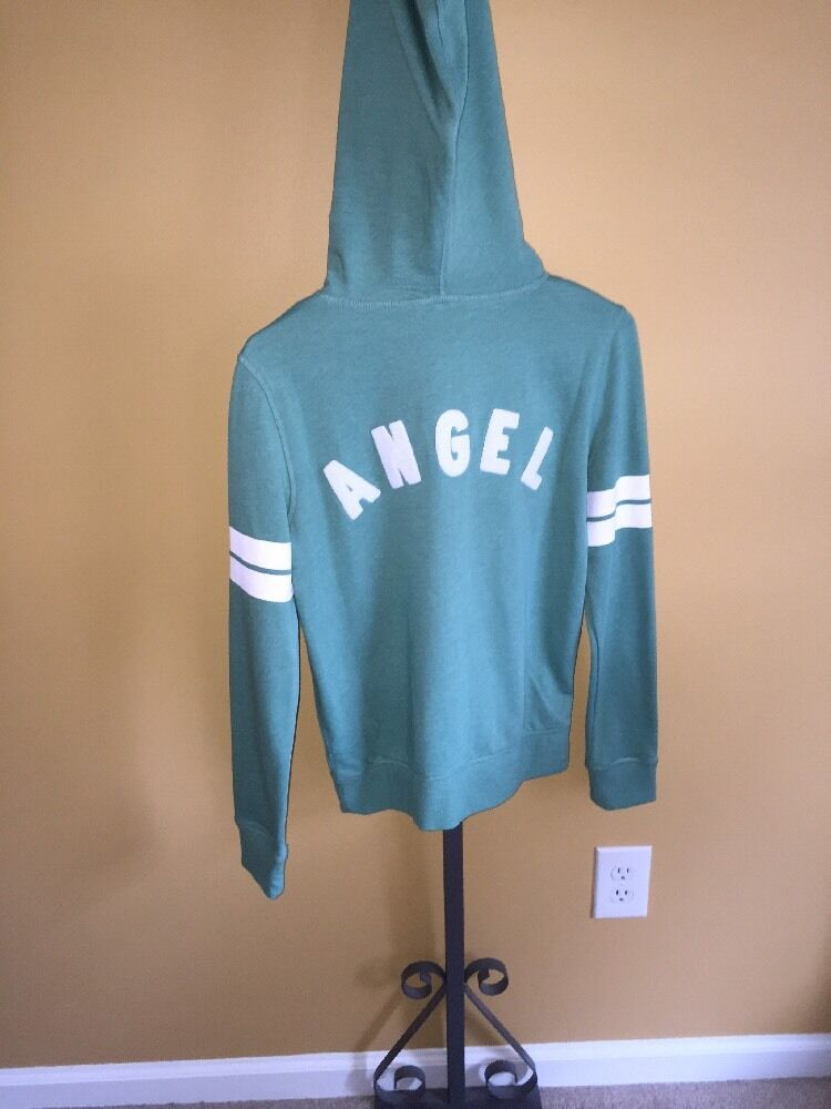 NWT Victoria's Secret Super Model Zip Up Hoodie Fleece Lined Green  Angel  SZ XS
