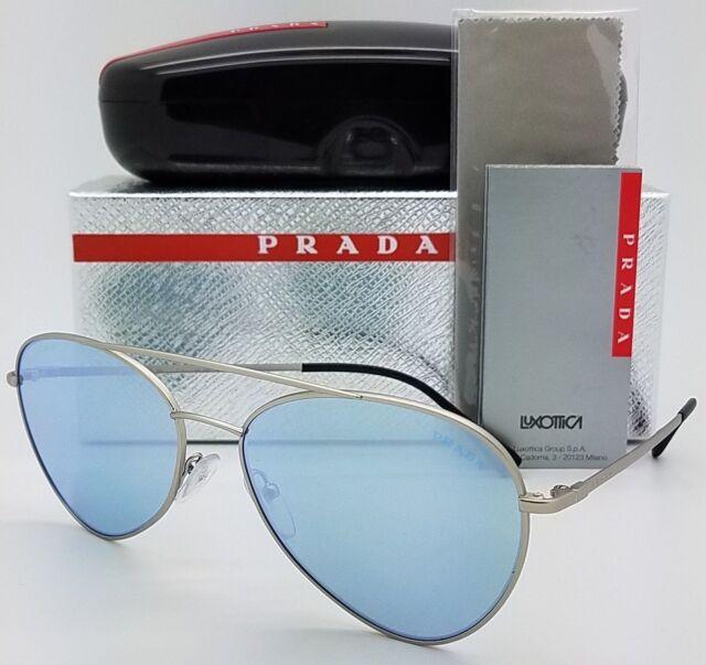 89d16e65ee03d PRADA Sunglasses SPS 50s Silver Blue Mirror 1ap5q0 Authentic for ...