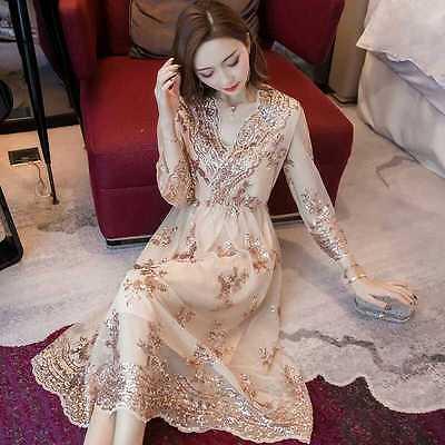 Elegant V-Neck Korean Women Autumn Long Fashion Floral Embroidery Party Dress