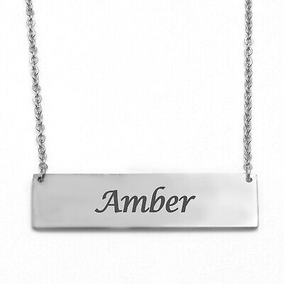 Personalized Vertical Bar Necklace Made with Swarovski Crystalse Custom Rectangular Pendant Gift