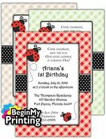 24/36 Ladybug Baby Shower / 1st Birthday Invitations + Envelopes Custom Printed
