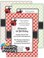 24/36 Ladybug Baby Shower / 1st Birthday Invitations + Envelopes Custom Printed