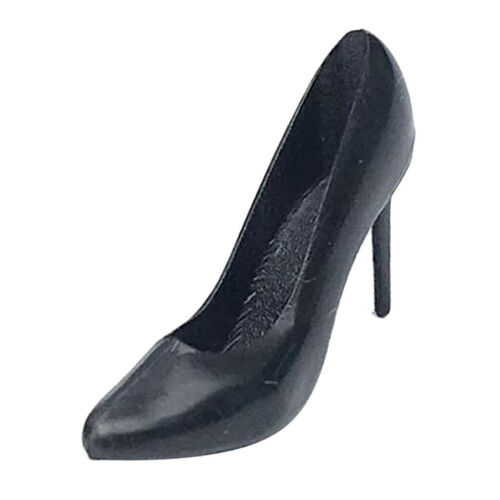 Miniature Black High Heel Shoes for 1//12 Dolls House Figures Accessory Decor