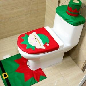 Image Is Loading Christmas Xmas Decoration Elf Toilet Seat Cover Rug