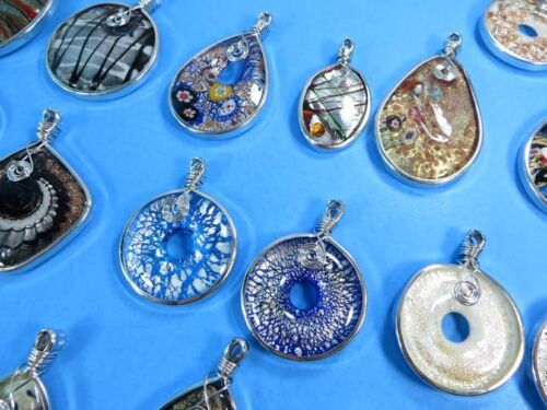 US Vendeur 6pcs Handmade scarf jewelry Finding Lampwork en Verre de Murano Pendentifs