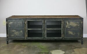 Credenza Console : Vintage industrial buffet credenza steel reclaimed wood top