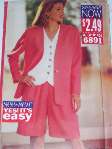 LADIES PRETTY WOMAN STYLE SHORTS-JACKET /& TOP PATTERN  6-22 FF BUTTERICK #6891