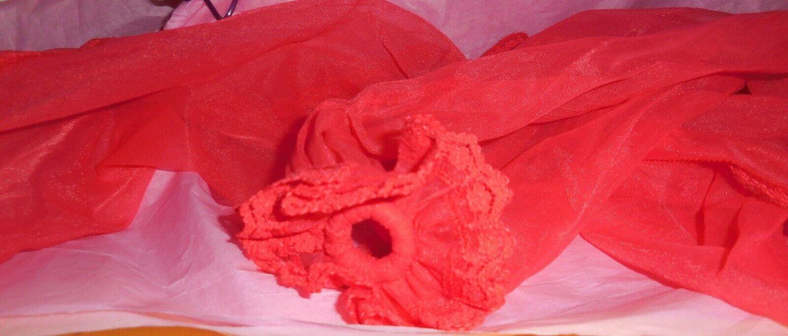 Vintage Snood Shocking Pink Nylon Chiffon Hair Wr… - image 7