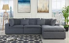 Classic Large Fabric Sectional Sofa, L Shape Couch w/ Chaise, Grey ...