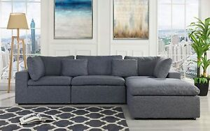Details about Classic Large Dark Grey Sectional Sofa, L Shape Fabric Couch  with Wide Chaise...