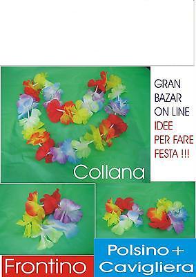 50 Hawaii Set Collana + Frontino + Cavigliera + Bracciale Festa Party