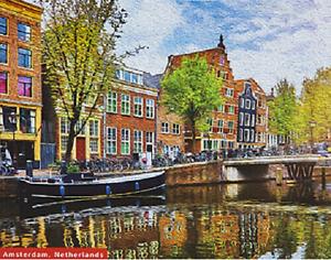 Jigsaw-Puzzle-De-Qualite-500-pieces-Amsterdam-scene-Colore-Traditionnel-Boxed