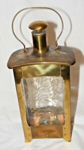 VINTAGE-BRASS-AND-GLASS-MUSICAL-DECANTER-LANTERN-SHAPE-UNUSUAL-MID-CENTURY