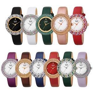 女腕表 bur227 施華洛世奇水晶鉆石標記緞面皮革表帶手表