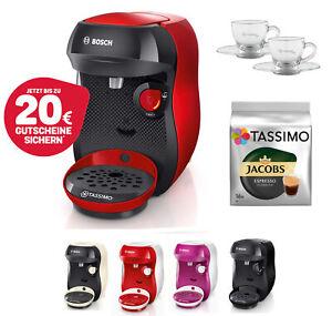 Bosch TASSIMO Happy + 20 EUR Gutscheine* + TDisc + WMF Espresso Gläser Set