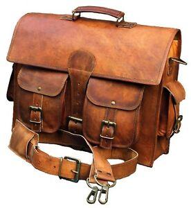 Men-039-s-Women-Leather-Messenger-Shoulder-Business-Office-Work-Briefcase-Laptop-Bag