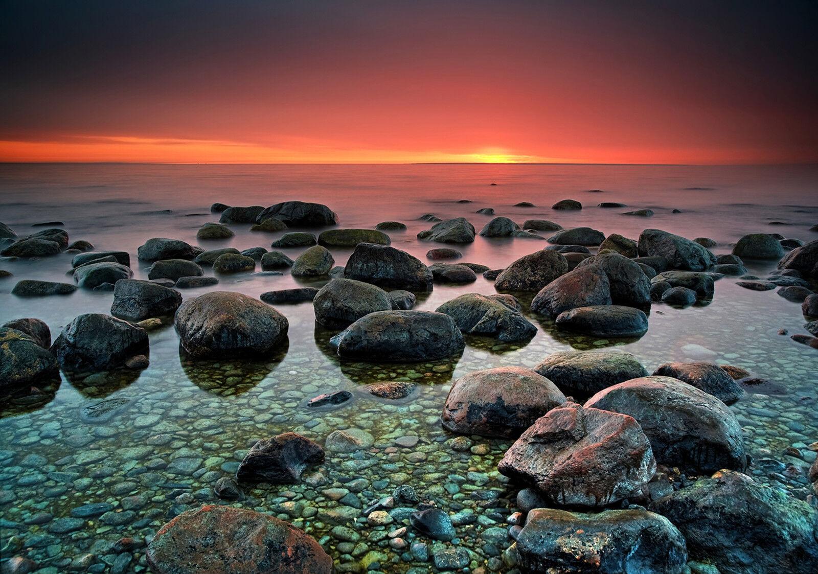 Nappes Papier peint-LA PLAGE - (13031) - Pierres Mer plage côte montagnes soleil Sable Ciel