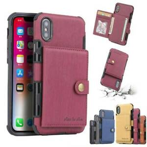For iPhone 12 11 Pro Max Wallet Case XS XR X 7 Leather Card Holder Cover Pocket
